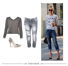 Get the Look  Blusa de moletom + Calça jeans destroyed + Scarpin estampado   moda 09b950d194eaa