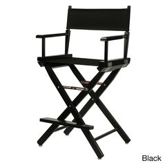 Black Frame 24-inch Director's Chair (Black canvas)