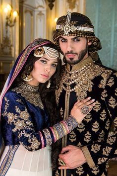 Pakistani Bride and Groom, models Ayyan Ali and Omar Borkan Indian Outfits, Indian Dresses, Indian Clothes, Costume Ethnique, Asian Bridal, Outfit Trends, Pakistani Bridal, Covet Fashion, Indian Wear