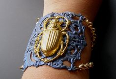 Egyptian Revival Bracelet Blue Filigree Scarab Insect by LilisGems