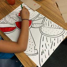 3rd grade: layered watermelons w artist inspiration