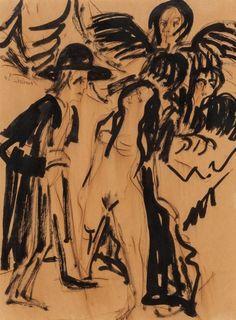 Fine Art - Work on Paper:Drawing, Ernst Ludwig Kirchner (1880-1938). Mann mit Engel und Akt (Manwith Angel and Nude), circa 1936, and Sitzender Fra...