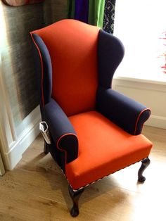 Color-blocked upholstery on a wing chair at the Dorset Hotel in London-photo Jason Oliver Nixon and John Loecke