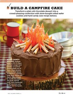 I mean, could this campfire cake be any cuter? Bonfire Cake, Campfire Cake, Campfire Cupcakes, Fall Bonfire, Bonfire Night, Chocolate Wafers, Chocolate Desserts, Camping Cakes, Camping Birthday Cake
