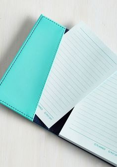 You Jot to Know Notebook. Put your notions in motion and your plans in action with this portable notebook! #blue #modcloth
