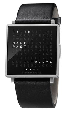 QLOCKTWO W, case in natural brushed stainless steel or black, 35 x 35 x 7mm, black leather or natural rubber strap, calendar day and second display, LED technology. Available from autumn 2012. (by BIEGERT & FUNK)