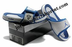 f0712030b Cheap Air Jordans 14 Massage Slippers White Blue