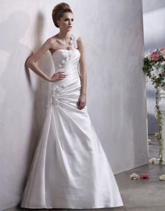 Ingenious One Shoulder A-line Bridal Gown with Wrinkles Satin