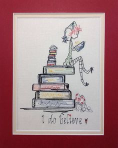 """Machine Embroidery Designs, Machine Embroidery, Christmas Holiday Embroidery """" Boy Reading books ' I Do Believe'"""