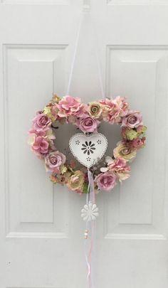 Heart wreath, cottage chic decor, wedding wreath, Valentines wreath, nursery wreath, shabby chic wreath, Mother's day wreath, door hanger by BsCozyCottageCrafts on Etsy