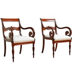 Pair of  Biedermeier Arm Chairs in Cuban Mahogany, c. 1835