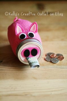 Piggy Bank  Mason Jar  Pink Pig  Kids Gift by KellysCreativeOutlet, $15.00