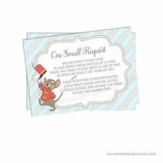 New Dumbo Baby Shower Book Request Insert Cards – Storybook Design Studio Dumbo Baby Shower, Baby Dumbo, Shower Party, Baby Shower Parties, Baby Shower Invitation Cards, Diaper Raffle Tickets, Good Night Moon, Baby Shower Gender Reveal, Baby Disney