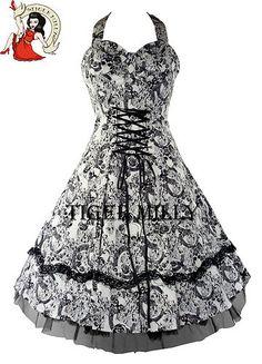 50's SKULLY CORSET halterneck prom DRESS skull WHITE - SIZE 8-18 | eBay