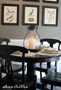 Like the framed bird pictures and how they coordinate with the dining table.   Maybe something like this for in the dining nook or dining room