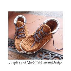 Lace Up Ankle Boots. Crochet Soles attached, optional. Crochet patterns available!