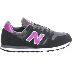 NEW BALANCE 373 suede and mesh trainers ($86) ❤ liked on Polyvore featuring shoes, sneakers, grey pink violet, new balance trainers, grey shoes, pink shoes, grey sneakers and round cap