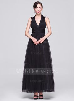 A-Line/Princess V-neck Ankle-Length Tulle Evening Dress With Ruffle (017070254) - JJsHouse