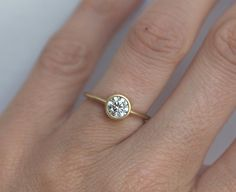 Diamond Ring Gold Diamond Ring Simple Diamond Ring by capucinne