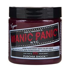Sally Beauty offers Manic Panic Semi-Permanent Hair Colors for a bold and fearless hair color that last weeks. Manic Panic is a direct hair dye that requires no mixing, and is PPD, ammonia, and paraben-free. Vegan and cruelty-free formula. Cabello Manic Panic, Cheveux Manic Panic, Manic Panic Hair Color, Manic Panic Colors, Purple Haze, Deep Purple, Color Fuchsia, Bold Colors, Color Red