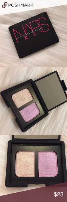 """NARS x Christopher Kane eyeshadow duo NARS x Christopher Kane eyeshadow duo in """"Parallel Universe"""". Limited Edition. Two shimmer shades with duo-chrome micro glitter. So beautiful. Classic NARS packaging. Used twice. No box. In excellent condition. No trades please. NARS Makeup Eyeshadow"""