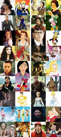 Once Upon A Time Real vs Cartoon ( how ever the fairy one is wrong they aren't like pixies from Tinkerbelle. One is called the blue fairy which if I remember correctly is the fairy in Pinocchio) and red riding hood in once upon a time is also the wolf too.