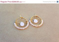 Mothers Day SALE Pink Beaded Earrings, Pink Hoop Earrings, Dangle Earrings, pink stone earrings