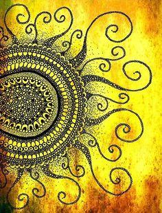 zentangle sun yellow