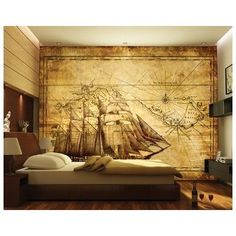 """Photo Wall Mural - Paper No.62 """"GRAND EXPLORER"""" 400x280cm ship, antique, vintage, map, expedition, sailing boat, compass, beige, brown, low-priced (400x280cm): Amazon.co.uk: Kitchen & Home"""