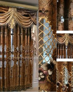 Luxury Victorian Vintage Living Room Curtain In Gold Brown Color Without Valance