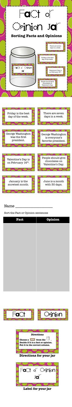 Great activity to help students distinguish between fact or opinion.