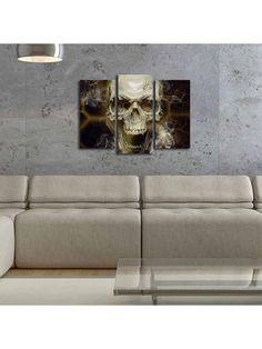 Διακοσμητικός πίνακας 3 τεμαχίων led νεκροκεφαλή