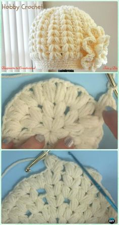 Crochet Baby Hats Crochet Puff Stitch Beanie Hat Free Pattern [Video] - Crochet Beanie Hat Free Patterns - DIY Crochet Beanie Hat Free Patterns (Baby Hat Spring Hat Winter Hat), adjust the color and size for different ages and sex. Crochet Beanie Hat Free Pattern, Bonnet Crochet, Crocheted Hats, Baby Hat Crochet, Knit Hats, Crochet Beret, Crochet Headbands, Headband Pattern, Crochet For Kids