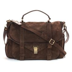 Proenza Schouler Brown Suede PS1 Large Flap Messenger Handbag ❤ liked on Polyvore