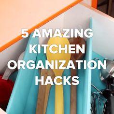 34 ideas for kitchen storage hacks organisation Organisation Hacks, Organizing Hacks, Storage Hacks, Kitchen Organization, Kitchen Storage, Cleaning Hacks, Storage Ideas, Organizing Drawers, Hidden Storage