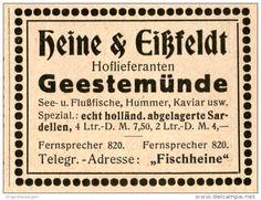 Original-Werbung/Anzeige 1914 - FISCHE - HUMMER - KAVIAR / HEINE & EISSFELD GEESTEMÜNDE - ca. 55 x 45 mm