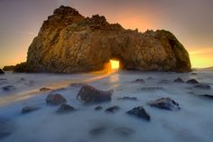 This is an image from the iconic location of Pfeiffer Beach along the California coastline in Big Sur shot by Kevin McNeal