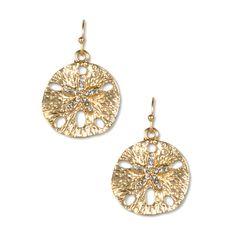 Gold Sand Dollar & Rhinestone Star Earrings | MLA Margaret Lavish Accessories