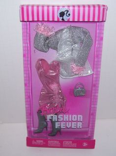 Amazon.com: Barbie Doll Fashion Fever Pink and Silver Dress Set: Toys & Games