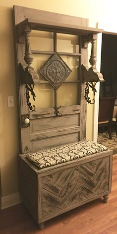 Hall tree made from old door & pallet wood. Love the pattern for a door