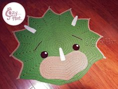 Triceratops Dino Rug. Hand Crocheted. MADE TO ORDER by CozyHat