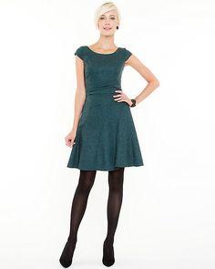 Wool Blend Boat Neck Dress - Diagonal lines on a wool blend fit and flare boat neck dress create a ultra-feminine look.