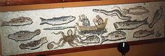 Harpoon fishing in a mosaic in Mytilene, House of Menander.