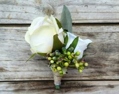 Rustic Boutonniere Pinecone Ivory Rose by MissHanaFloralDesign