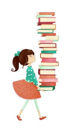 Library Girl Art Print by Stephanie Fizer Coleman Flower Background Wallpaper, Flower Backgrounds, Graphic Wallpaper, Wallpaper Iphone Cute, Library Girl, Personalized Books For Kids, Book Markers, Book Drawing, Girl Reading