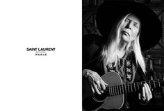 "Joni Mitchell for Saint Laurent  for Spring 2015, singer/songwriter Joni Mitchell fronted Saint Laurent's latest ""Music Project"" spread"