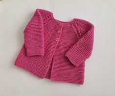 Pretty in pink - merino wool baby girl cardigan, modern sweater 3-6 months, handknit girl's garter stitch & lace cardigan, heirloom gift Baby Girl Cardigans, Baby Sweaters, Knitting Stitches, Baby Knitting, Lace Cardigan, Garter Stitch, Yarn Colors, Pretty In Pink, Merino Wool