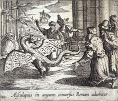 Aesculapius in anguem conversus Romam advehitur (Esculapio como un Dragón, entre los Romanos)  Grabado de Antonio Tempesta. Lámina 149 de la serie de las Metamorfosis de Ovidio, editada por Wilhelmus Jansonnius.