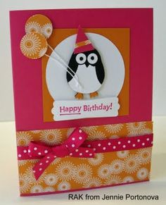 Cute card made with #Stampin' Up! stamps and some punch art! Love how they used the #Owl Punch to make a penguin and circle punch for balloons! Sweet!