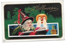 Vtg Nash Halloween Postcard Witch with Spell Book Jack O' Lantern Laser Eyes #Halloween